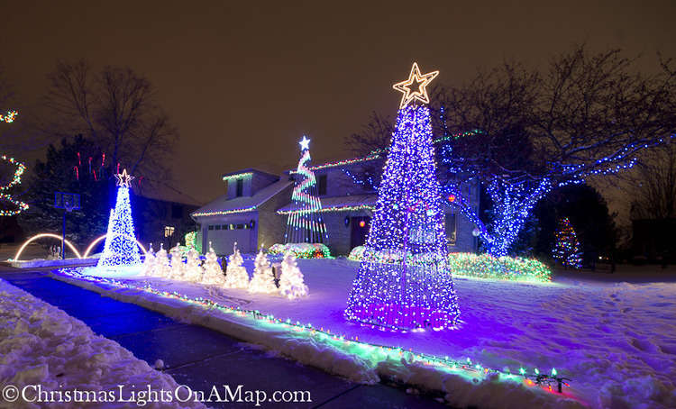 Christmas Lights On A Map In Naperville 3111 Wolfe Ct